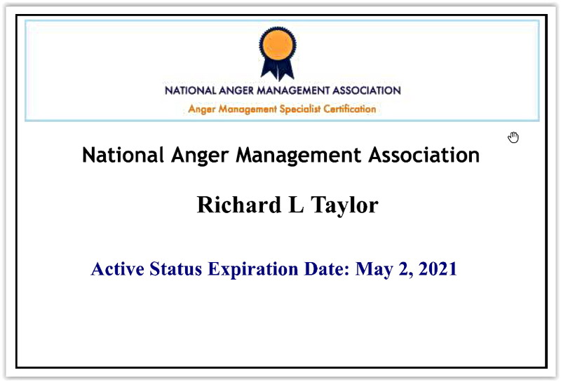 National Anger Management Association Certified Anger Management Specialist